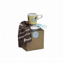 Xícara de Café com Pires Genova em Caixa Craft com Palha.