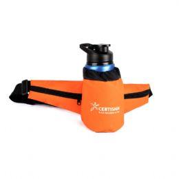 A Pochete Personalizada Porta Squeeze conta com bolsos nas laterais e compartimento para squeeze personalizado, sendo ideal para corridas.