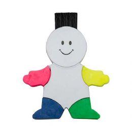 Boneco marca texto branco em plástico resistente. Possui quatro cores de marca texto, parte traseira da cabeça possui limpador de tela e ao puxar botã...