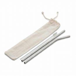 Kit Canudo em aço inox com 03 peças: canudo reto, canudo curvo, escova para limpeza. * Pode ser vendido separadamente