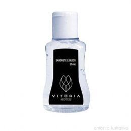 Sabonete líquido em frascos de 35 ml personalizado com o logo da sua empresa ou evento. Um toque de requinte em sua ação promocional.