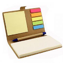 Bloco de anotação feito de material ecológico, com stick notes coloridos e caneta ecologica de papelão com clip de plástico. Tamanho total (CxL): 15,3...