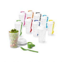 Copo para salada e frutas em PP. Com garfo e molheira. Capacidade: 850 ml. Food grade. ø110 x 190 mm