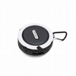 Caixa de som bluetooth/wireless emborrachada à prova dágua com ventosa, acompanha suporte com mosquetão. Segurar botão power para ligar e desligar, po...