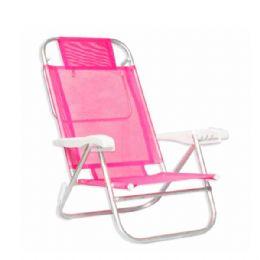"""Cadeira reclinável com estrutura em tubo industrial de alumínio 7/8"""", braços com apoio injetados em polipropileno, tela sannet de nylon revestido com..."""