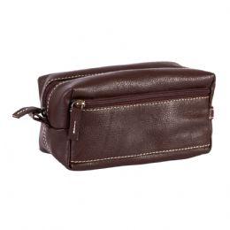 Necessaire de couro, com bolso frontal e alça de mão. Medidas: Larg: 20cm x Alt: 10cm x Prof: 10cm.