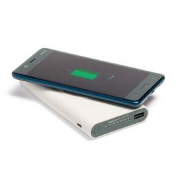 Power personalizado wireless, sem a necessidade de fios. Acabamento emborrachado. Bateria de lítio com capacidade de 11.000 mAh. Entrada/saída de 5V/2...