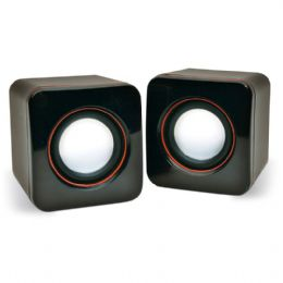 Caixa de som personalizada com USB, P2 e controle de volume. Um brinde personalizado ideal para a sua marca.