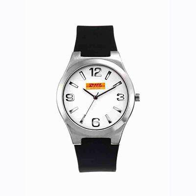 Mirus Relógios - Relógio de pulso analógico com pulseira de borracha.