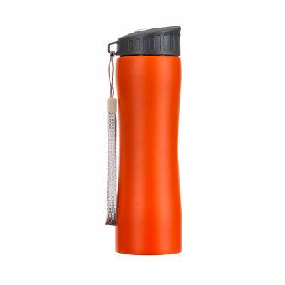 MT Brindes - Squeeze metal 600ml com tampa rosqueável plástica e bico transparente de acionamento manual. Acompanha alça de nylon para transporte.