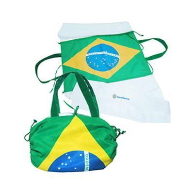 Ato Produtos Promocionais - Bolsa toalha sublimada com a bandeira do Brasil. Personalização em bordado na toalha