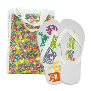 Ato Produtos - Kit Bolsa em PVC + Chinelo Havaianas Top com gravação personalizada.