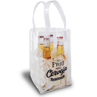 Ato Produtos - Icebag para 4 garrafas, confeccionado em PVC cristal 0,30 - Medidas: 16cm (L) x 26cm (A) x 16cm (F)