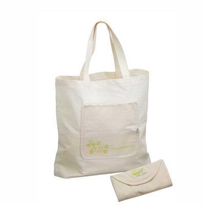 MatBrindes - Sacola em algodão cru ou lona dobrável. Tamanho 45cm de largura x 40cm de altura  - bolso frontal para fechamento.