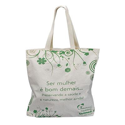 MatBrindes - Ecobag. Sacola retornável. Dobrável, ecológica, tecido algodão cru ou lona. Tamanho: 40 cm de largura x 40 cm de altura.