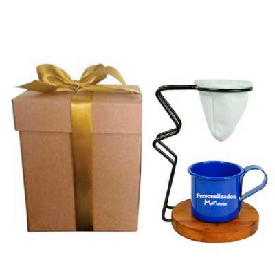 MatBrindes - Cheiro de casa de vó!! Kit café individual personalizado. Caixa com laço para presente