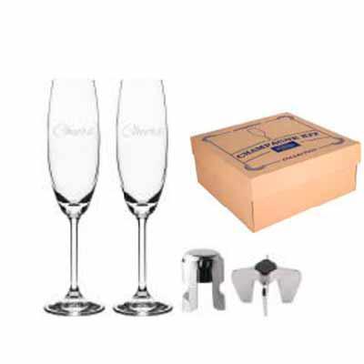 MatBrindes - Kit de 4 peças para champanhe L31xP31xA13cm, taças decoradas (Cheers), Contém: 2 Taças decoradas (Cheers) 220ml - A24cm, 1 Tampa de pressão, 1 Abridor...