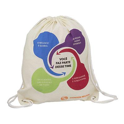 MatBrindes - Mochila saco ecológica retornável em algodão cru.