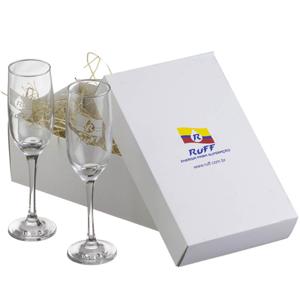 print-maker - Kit com 2 taças de vidro para espumante, caixa Triplex.