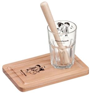 Print Maker - Kit Caipirinha com tábua de madeira, socador e copo de vidro.