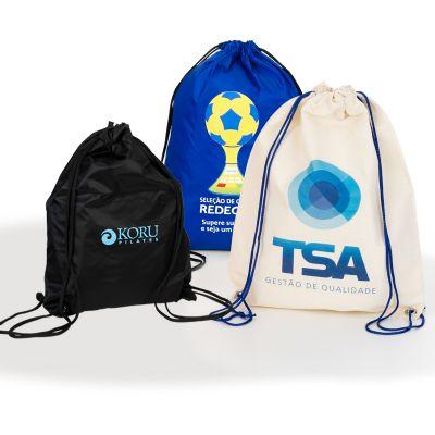 Embalagem - Saco mochila personalizada.