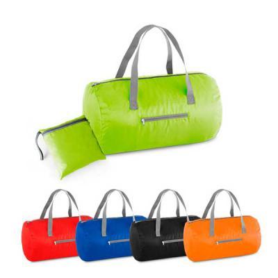 Marca Laser - Sacola esportiva dobrável em nylon 210D ripstop. Possui bolso frontal com zíper.   Disponível nas cores preta, azul, vermelha, laranja e verde.