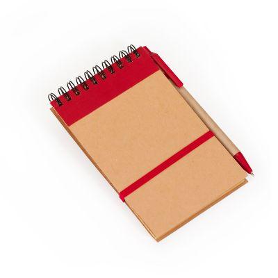 Marca Laser - Bloco de anotações capa em papel reciclado 80 folhas em papel Kraft e elástico para fechamento. Acompanha caneta esferográfica
