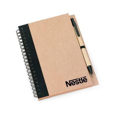 Marca Laser - Caderno de anotações espiral em papel reciclado