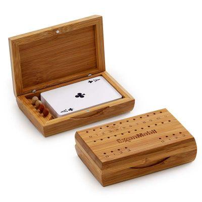 Marca Laser - Caixa personalizada em bambu para truco com marcadores e 01 jogo de cartas (Medidas: 125 x 80 x 35 mm).