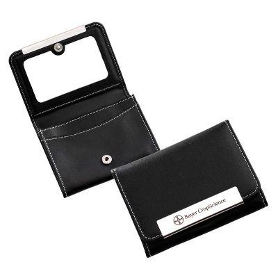 Marca Laser - Carteira de bolsa personalizada, confeccionada em material sintético preto com 3 divisões internas e espelho interno na aba frontal. Medidas: 105 x 80...