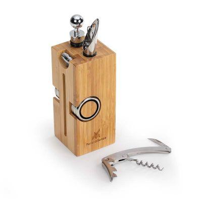 Marca Laser - Cepo para vinho personalizado em bambu, contendo: 01 tampão, 01 direcionador, 02 corta gotas, 01 abridor saca-rolhas e 01 termômetro - Medidas: 70 x 7...