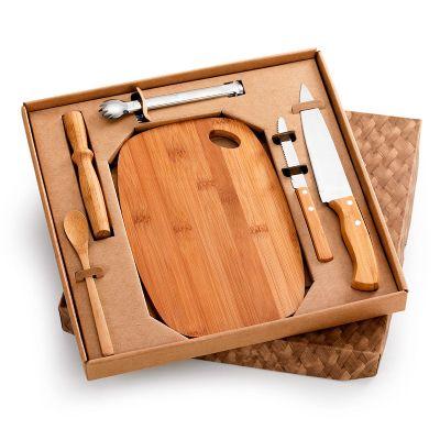 """Marca Laser - Kit bar personalizado em caixa para presente com tábua oval, amassador, colher, faca 7"""" e faca de mesa 4"""" - Em bambu / aço inox - Pegador de gelo em a..."""