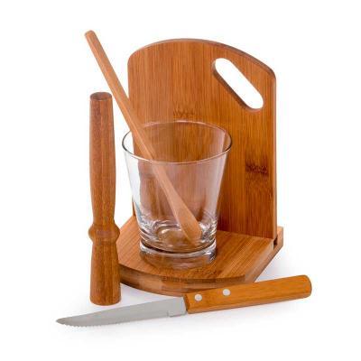 Kit caipirinha em bambu 6 peças