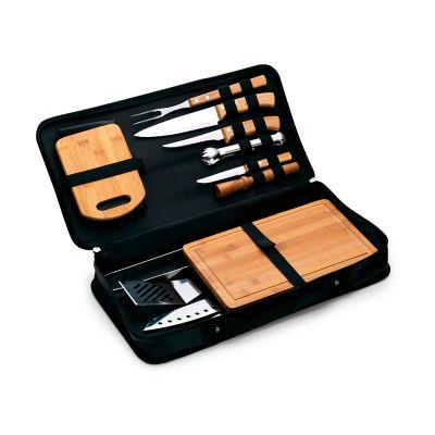 Marca Laser - Kit churrasco personalizado, estojo maleta para churrasco / caipirinha com 14 peças.