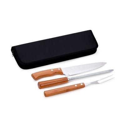 """Marca Laser - Estojo econômico personalizado para churrasco, com 4 peças com faca 8"""", garfo e afiador em bambu e aço inox."""