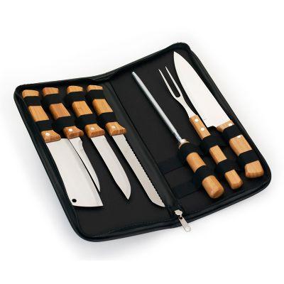 Marca Laser - Estojo para cozinha personalizado em material sintético na cor preta com faca, afiador, garfo, cutelo, faca de pão, faca de cozinha e faca de desossa...