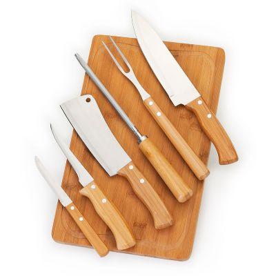 """Marca Laser - Kit churrasco personalizado com tábua TR em bambu - Medidas: 370 x 230 x 15 mm, faca 8"""", garfo, afiador, cutelo, faca de desossa 5"""" e faca de mesa 4""""..."""