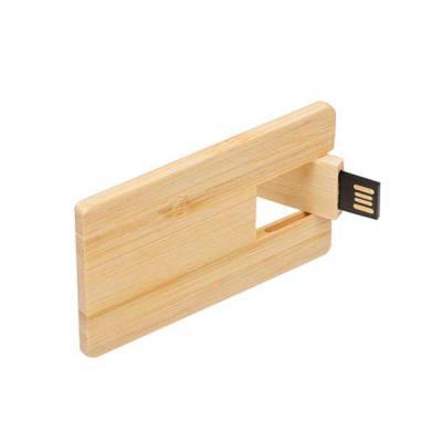 Skill Brindes Promocionais - Pen card 4GB retangular de madeira, compartimento da memória giratório.