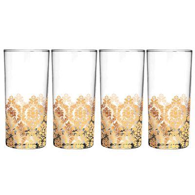 Mãos & Arte - Jogo de copos long drink coleção Chandelier. Decoração em renda metalizada. Capacidade 320 ml