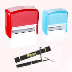 madson-brindes - Carimbo automático no formato retangular, redondo ou caneta.