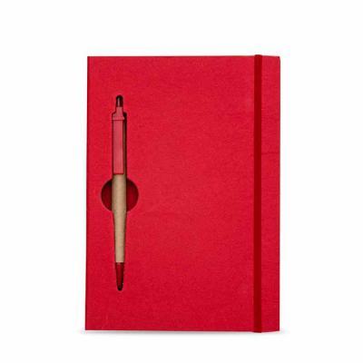 Médico das Canetas - Bloco de anotações ecológico colorido com caneta. Capa de papelão com recorte vazado (as folhas também) no qual é possível visualizar a caneta na part...