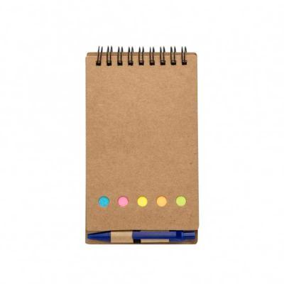 Fabrika de Chaveiros - Bloco de anotações ecológico com espiral, material em kraft. Possui uma mini caneta de papelão com acabamentos plásticos acionada por clique, cinco bl...