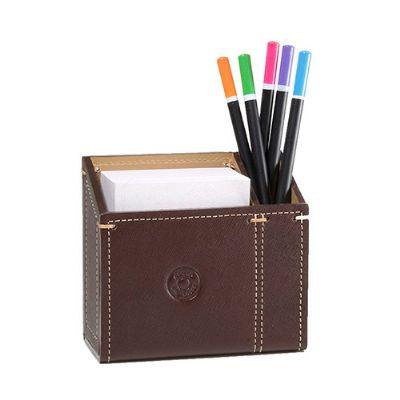 Maria Coura - Porta canetas personalizado em couro, com bloco de 450 folhas soltas.