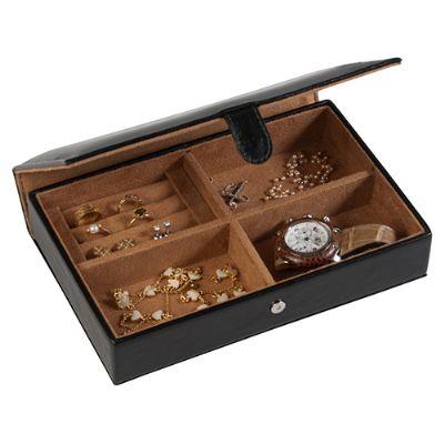 Maria Coura - Porta-jóias em couro ou sintético com suporte para anel Cor padrão: preto e café (outras cores sob consulta)  Dimensões (cm): C23,7 x L15,5 x A5