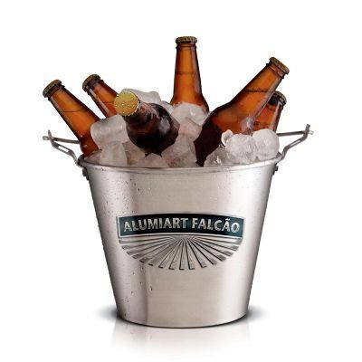 Alumiart Falcão - Balde de gelo para bebidas personalizado, confeccionado em aço com alça para transportar. Sua marca presente na casa de seus clientes com um produto d...