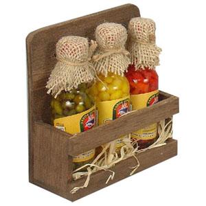 brindes-da-terra - Kit Pimenta com 3 mini pimentas (malagueta verde, vermelha, comarí amarela) no pote de vidro, suporte para parede em madeira MDF e caixa em papelão Kr...