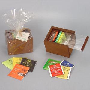Brindes da Terra - Kit com 12 sachês de chá variados e embalados em caixinha de MDF com tampa corrediça em acrílico.