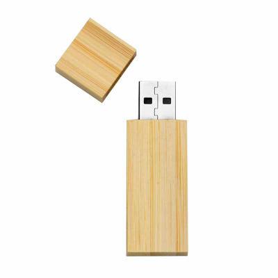 Brindes da Terra - Pen drive 4GB de bambu com tampa de imã, frente e verso lisos.