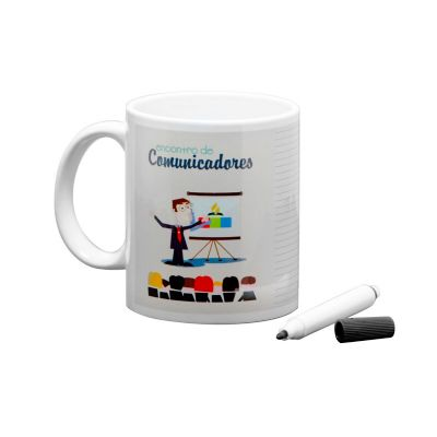 Elo Brindes - Caneca lousa personalizada com caneta.