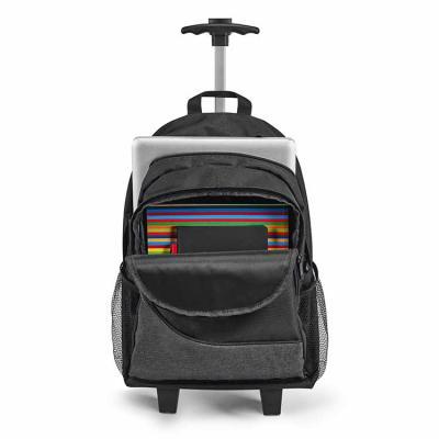 Elo Brindes - Confeccionada em 300D e disponível na cor preta, possui duas rodas, compartimento principal forrado e almofadado, com divisória almofadada para notebo...